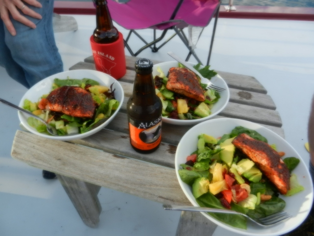 Salmon on salad for dinner