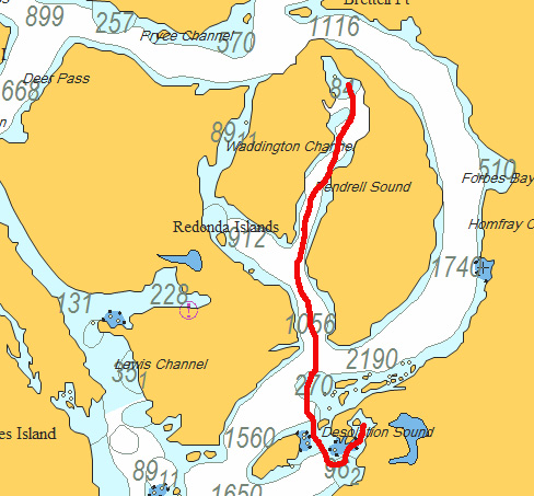 Pendrell sound to tenedos bay